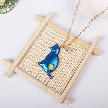 1PC Fashion Jewelry Enamel Cat Pandent Necklaces For Women Gold Color Star Sweater Necklace Bohemian Chain N921 5