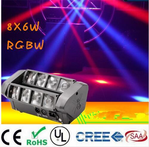 Moving Head Light Mini LED Spider 8x6W RGBW Beam Light Good Quality Fast Shipping 1pcs lot moving head lights led spider 9x10w rgbw 4in1 cree leds moving head beam lights good quality fast shipping