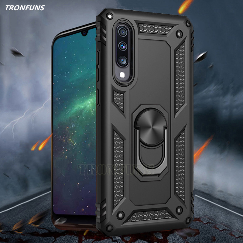 Luxury Shockproof Armor Case On The For Samsung Galaxy A10 A20 A30 A40 A50 A70 M10 M20 Cover Shell Car Magnetic Ring Case Capa
