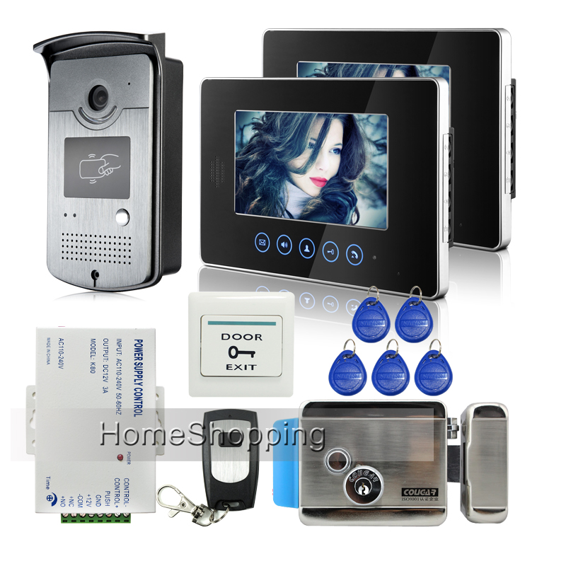 FREE SHIPPING NEW Touch key 7 Video Intercom Door Phone System 2 Monitor 1 RFID Access Camera Electric Lock + Remote Whole sale jeruan home 7 video door phone intercom system kit rfid waterproof touch key password keypad camera remote control in stock