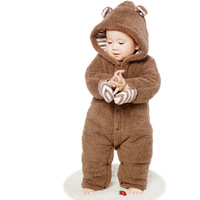 Baby Girls Clothes Boys Thickening Newborn Rompers Autumn Winter Cartoon Bear Infant Jumpsuit Long Sleeves Brown