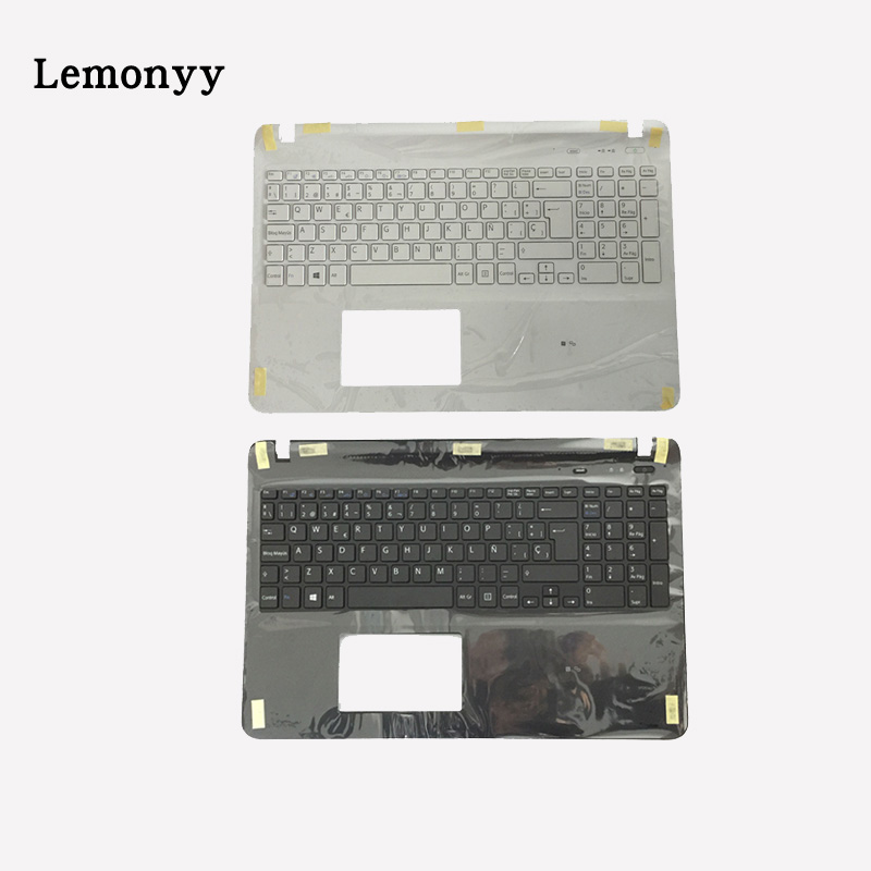 Spanish laptop keyboard for sony Vaio SVF152C29V SVF153A1QT SVF15A100C SVF152100C black/white keyboard with Palmrest Cover laptop keyboard for acer silver without frame bulgaria bu v 121646ck2 bg aezqs100110
