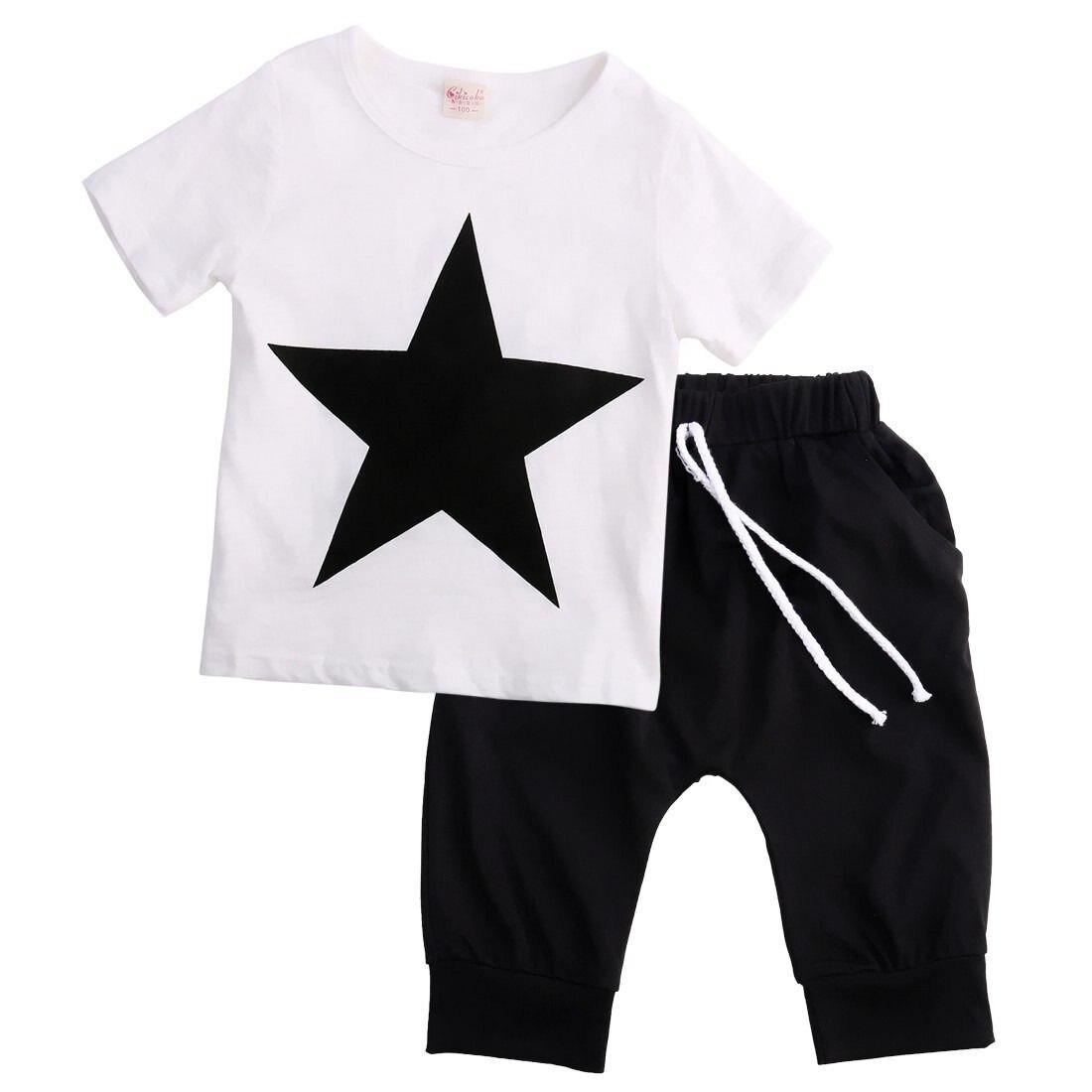 Helen115 Casual Kids Baby Boys Star Printed Short Sleeve T-shirt+Black Pants 2PCS Set 2-7Years