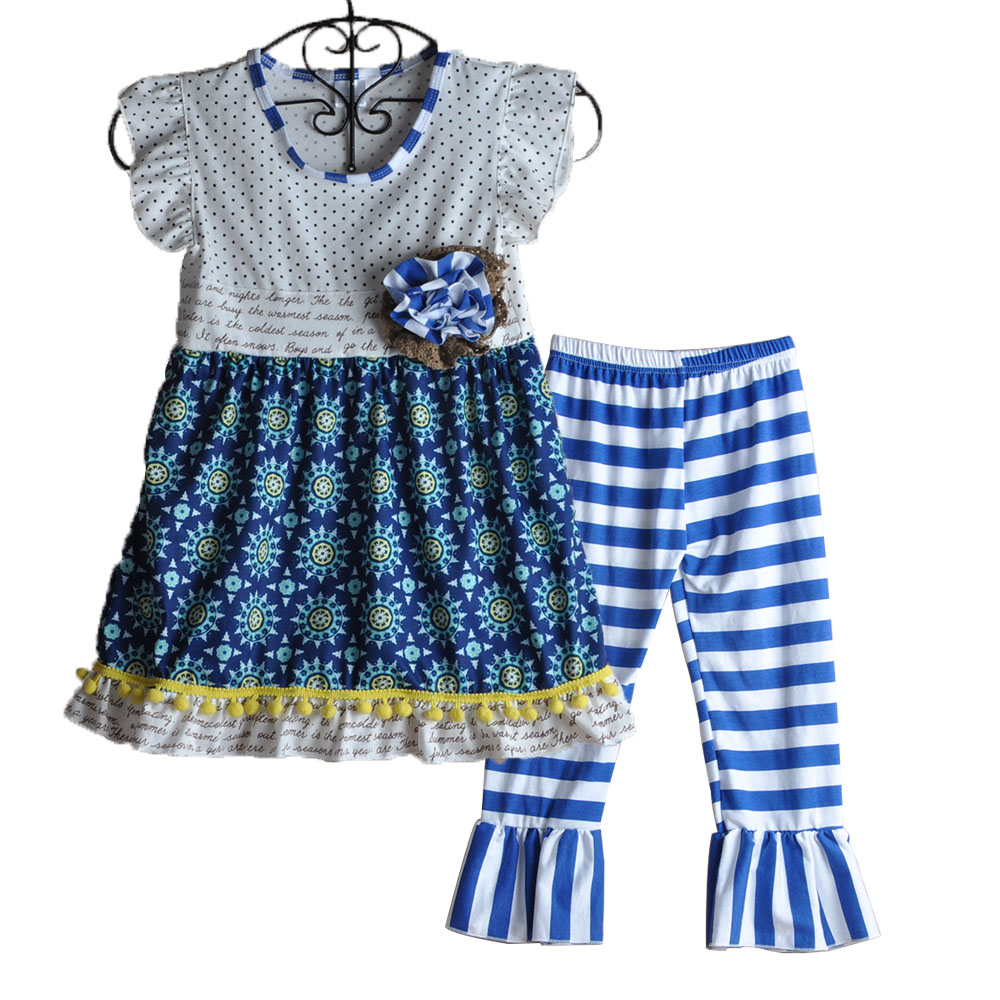 Retail New Baby Girls Summer Outfits Children Adorable Clothes Floral Top Striped Pants Girls Boutique Clothing  S133 y 1084040 retail new 2015 summer girls top peter pan collar printing parrot birds girl blouses tees children t shirts clothes