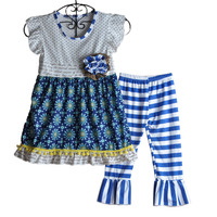 Retail New Baby Girls Summer Outfits Children Adorable Clothes Floral Top Striped Pants Girls Boutique Clothing  S133