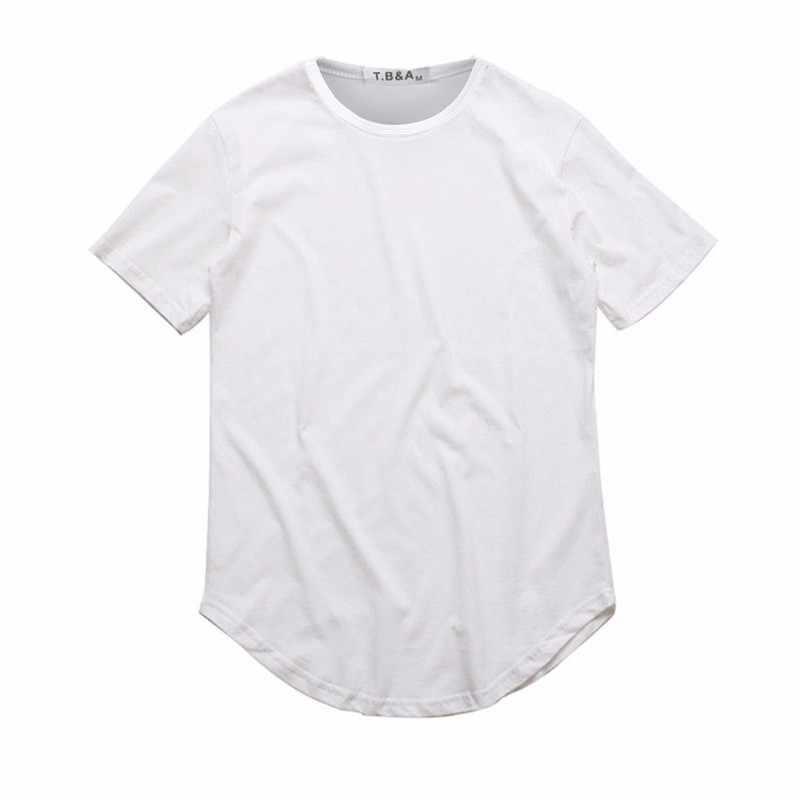 Camiseta ZSIIBO TX135-C para hombre Kanye West camiseta de barrido redondo extendido dobladillo curvo línea larga tapas Hip Hop blanco urbano Justin Bieber