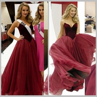Gorgeous Burgundy A Line Prom Dresses 2017 Velvet Top Bodice Sweetheart Ruched Organza Evening Party vestido longo