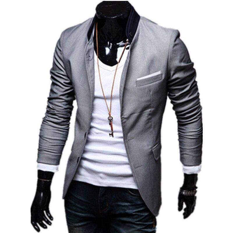 mens korean slim fit fashion cotton blazer suit jacket black blue