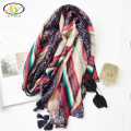 1PC 2017 Spring New Design Korea Style Acrylic Cotton Women Long Tassels Scarf Woman New Viscose Cotton Big Pashminas Shawls
