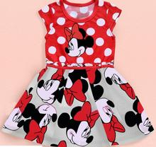 New Fashion Girls Cartoon Dress Sleeveless Knee Length Polka Dots Summer Clothing for Girl Sundress