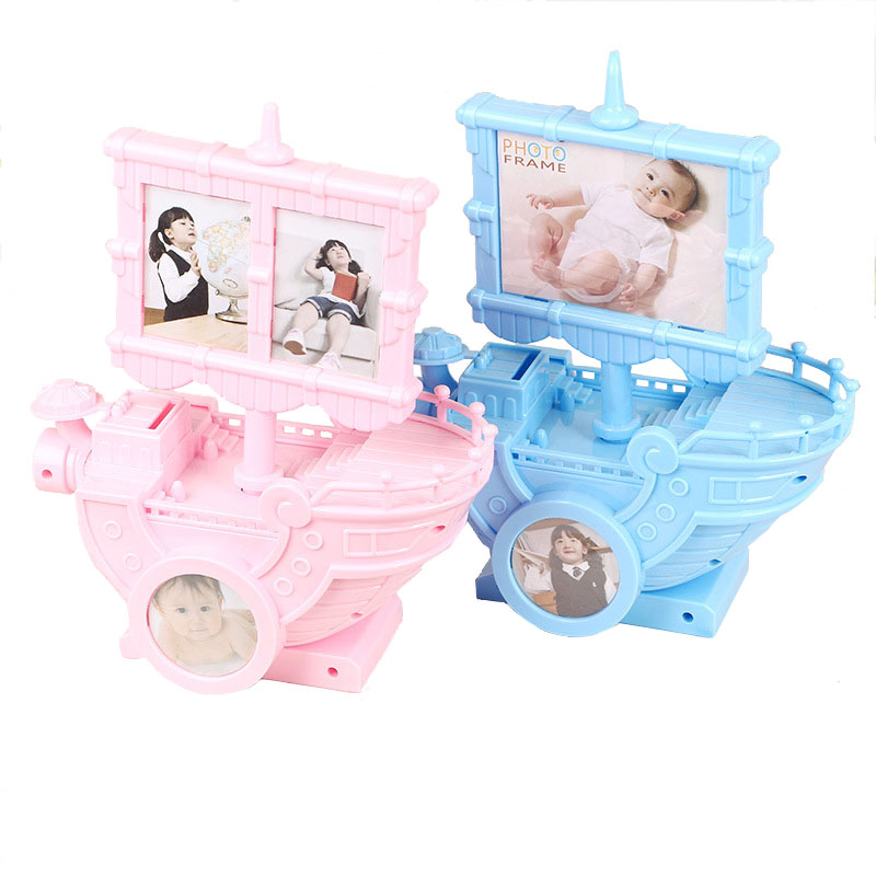 Multi-functional Piggy Money Box Sailing Model Music Box Handwork Rotation Plastic Photo Frame Music Box Kids Toy Christmas Gift