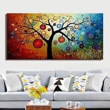 Ручная роспись, современный абстрактный холст с денежным деревом, настенная живопись маслом на холсте, украшение дома, уникальный подарок, произведение искусства, без рамки