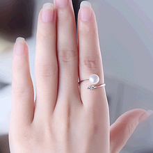 цена на 2019 HOT Luxury Leaf shape Shiny zircon Really natural 7-8mm pearl Open ring Fashion pearl ring For women Free shipping