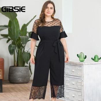GIBSIE Plus Size Dot Mesh O-Neck Short Sleeve Wide Leg Jumpsuit Women Black Elegant Lace Patchwork Summer Jumpsuit with Belt