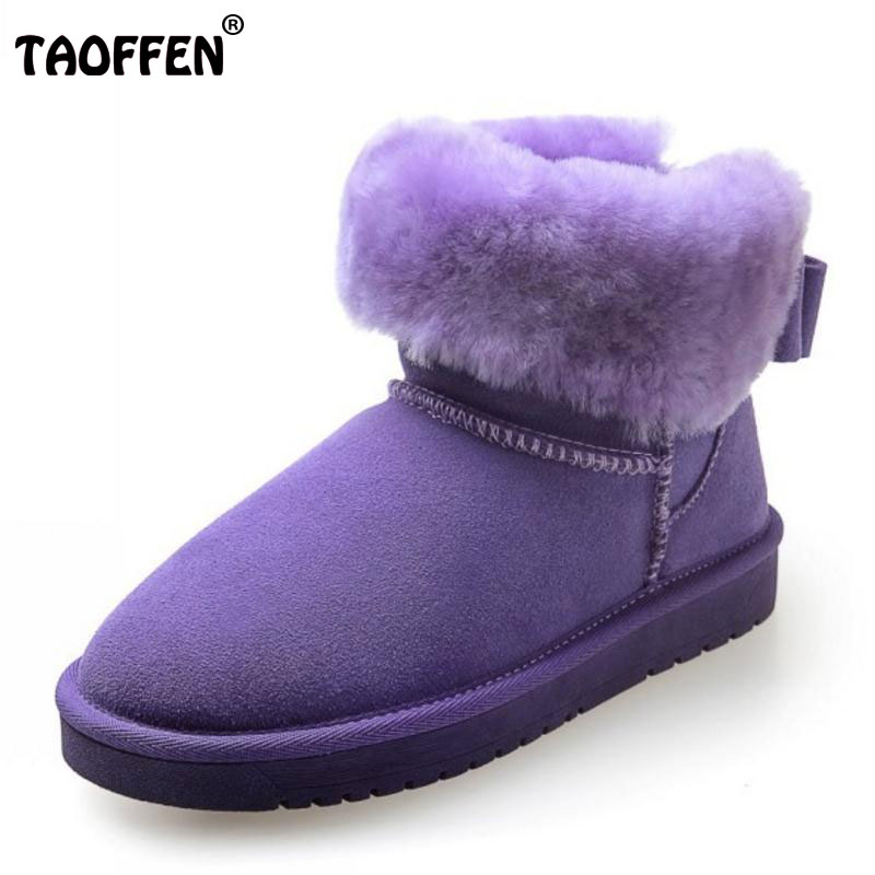 TAOFFEN Women Real Leather Ankle Snow Boots Women Thick Fur Inside Platform Shoes Women Warm Winter Flat Botas Size 35-39 rizabina cold winter snow shoes women real leather warm fur inside ankle boots women thick platform warm winter botas size 34 39