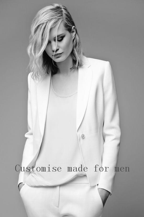 White Pants Suit Women Custume Made Formal Office Uniform Designs ...