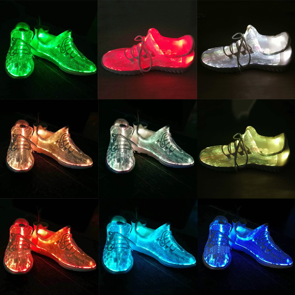 7 LEDs Luminous Dance Shoes Women Sneakers Lace Shoes Colorful Glowing Shoes for Party Dancing Hip-hop Cycling Running Brand New glowing sneakers usb charging shoes lights up colorful led kids luminous sneakers glowing sneakers black led shoes for boys