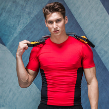 Compression Fitness Men s clothes jogging Clothes Sports short shirt Gym Fitness workout Tights clothing YQX05