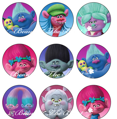 Singing Trolls Sticker Cupcake Toppers Birthday Party Decorations Kids Sticker Label for Birthday Baby Shower Party Supplies