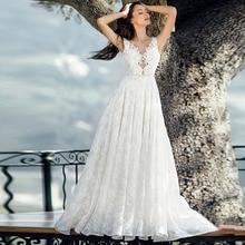 Tam dantel aplikler Backless gelin A Line kıyafeti Vestidos De Novia zarif v yaka kolsuz düğün elbisesi