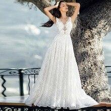 מלא תחרה אפליקציות ללא משענת כלה אונליין שמלת Vestidos דה Novia אלגנטי V צוואר שרוולים שמלת כלה