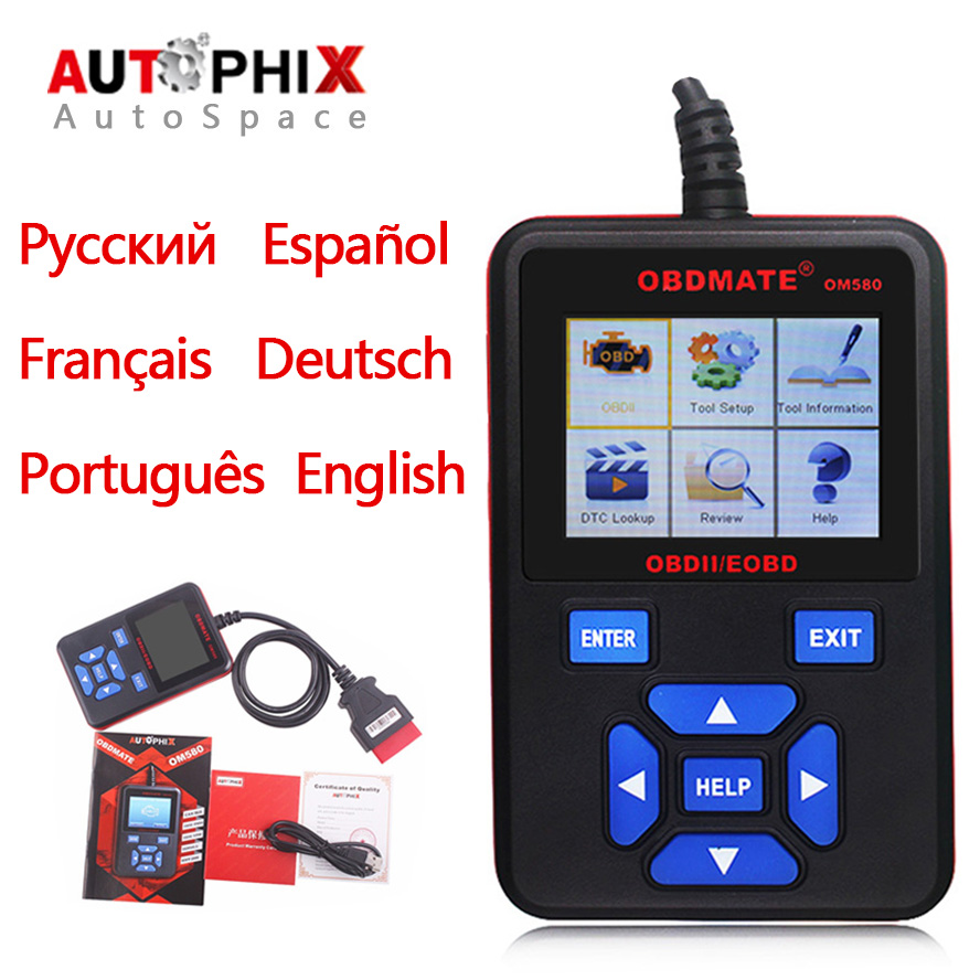 Autophix OBDMate OM580 OBD OBD2 EOBD Automotive Diagnostic Scanner Color Screen Car Engine Fault Code Reader