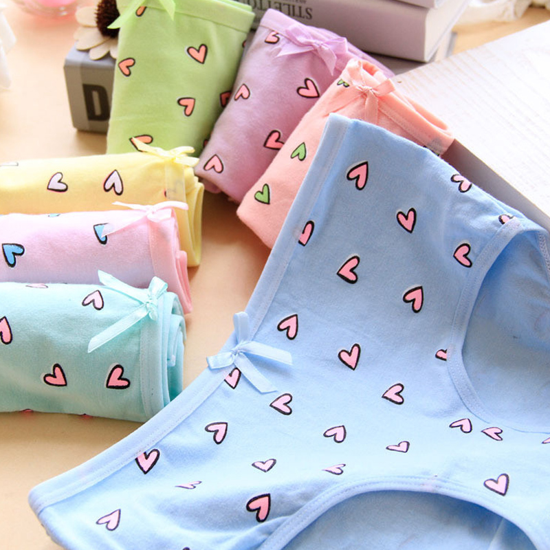 4Pcs/Lot Candy Color Girl Panties Heart Underwear Briefs Cotton Lingerie Soft Comfortable Panty WholesaleNH0032
