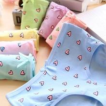 6Pcs/Lot Candy Color Girl Panties Heart Underwear Briefs Cotton Lingerie Soft Comfortable Panty WholesaleNH0032