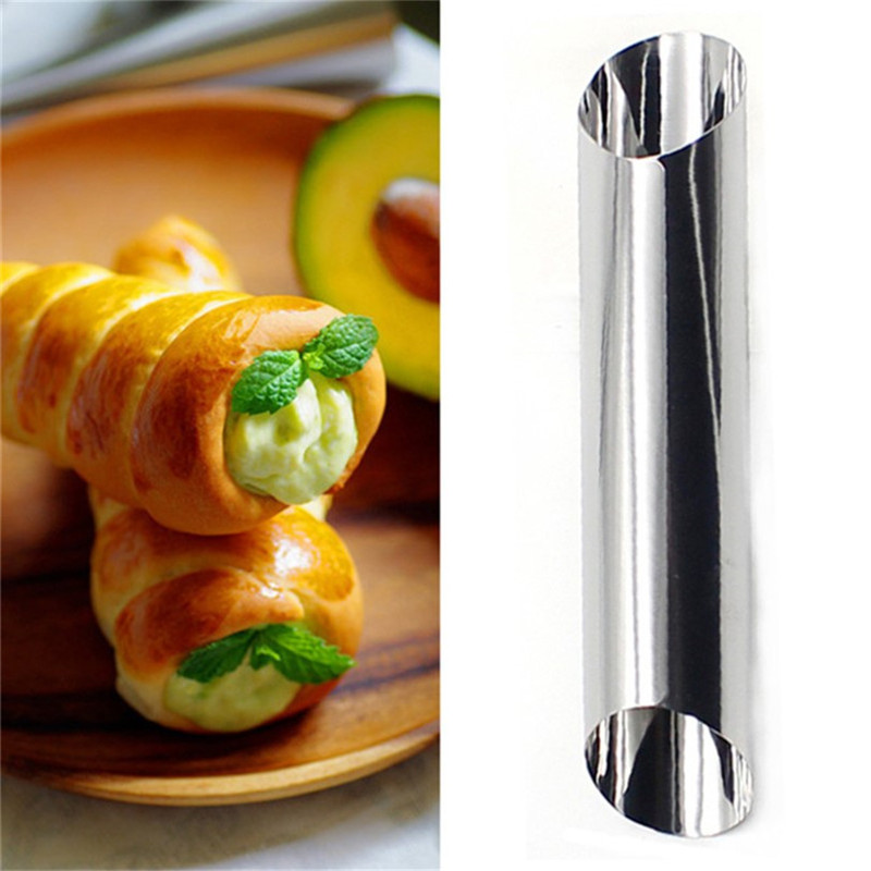 1PC DIY Baking Cones Stainless Steel Spiral Baked Croissants Tubes Horn Pastry Roll Cake Mold Bread Nozzle Bakeware in Cake Molds from Home Garden