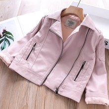 leather jackets for girls pu jackets coat children clothing baby outerwear kids pink black red fashion spring autumn 328277662