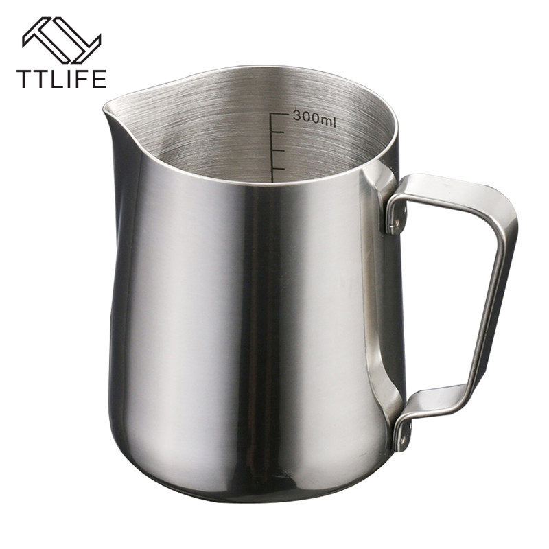 TTLIFE 300ML 500ML Stainless Steel Frothing Pitcher Pull Flower Cup Cappuccino Coffee Milk Mugs Milk Frothers