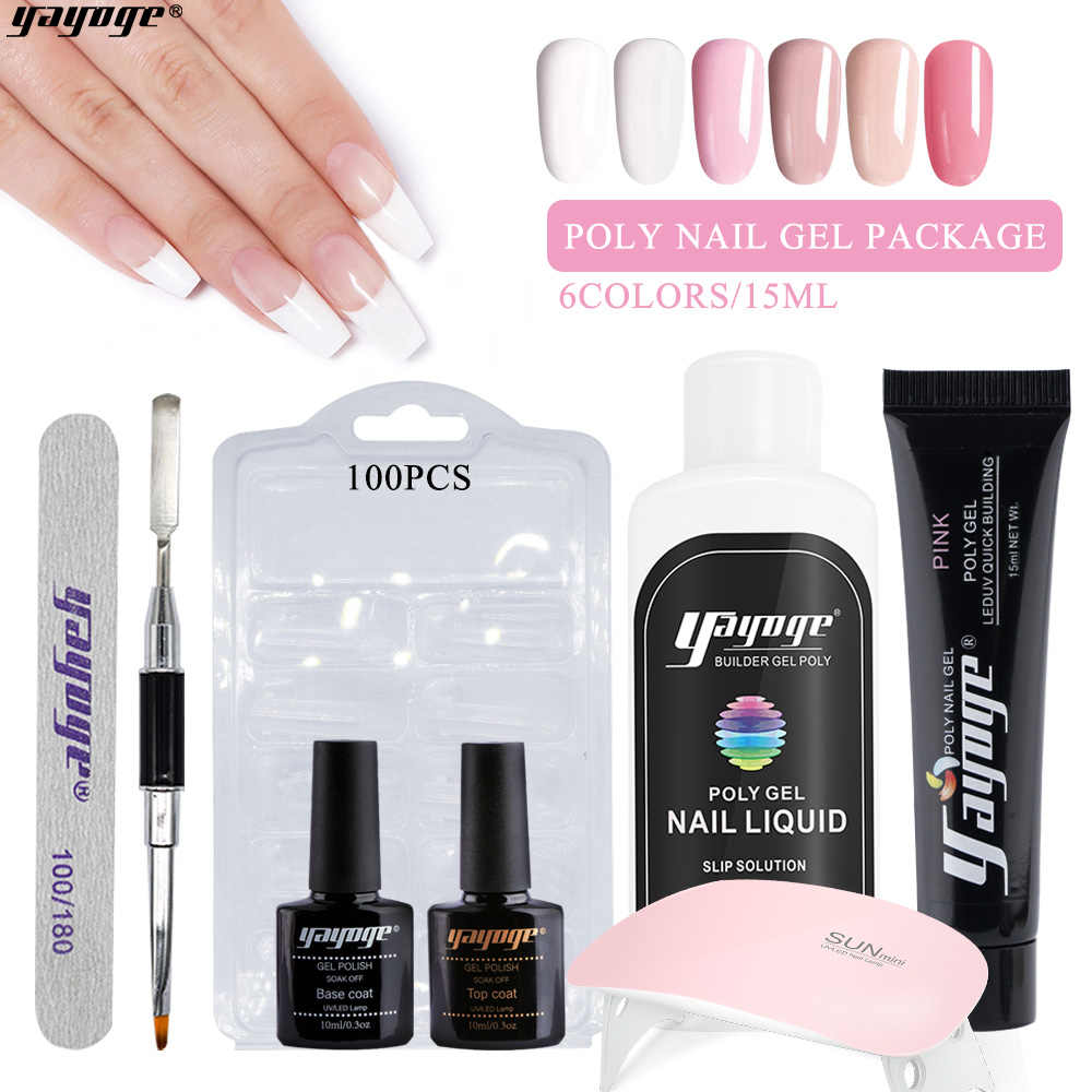 Yayoge 6 piezas de Gel Kit Gel Acrylic PolyExtension uñas polaco para Manicure Set 15ML Semi permanente Vernis UV Poly Gel