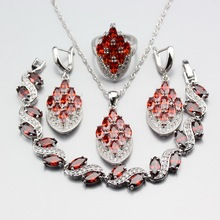 Necklace And Earring Set In Garnet Czech Gl Round Cathedral Beads Rich Jewelry