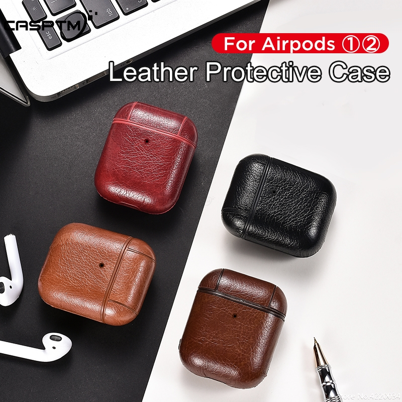 Leather Case For Apple AirPods With Buckle Hook Cases For Airpods 1 2 Headphone Bluetooth Earphone Accessories Slim Charging Box