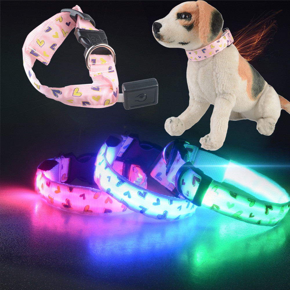 Pet Products Collar for Dogs Supplies Pet Dog Love Glow Light Pattern Collar Buckle Adjustable Safety Collar