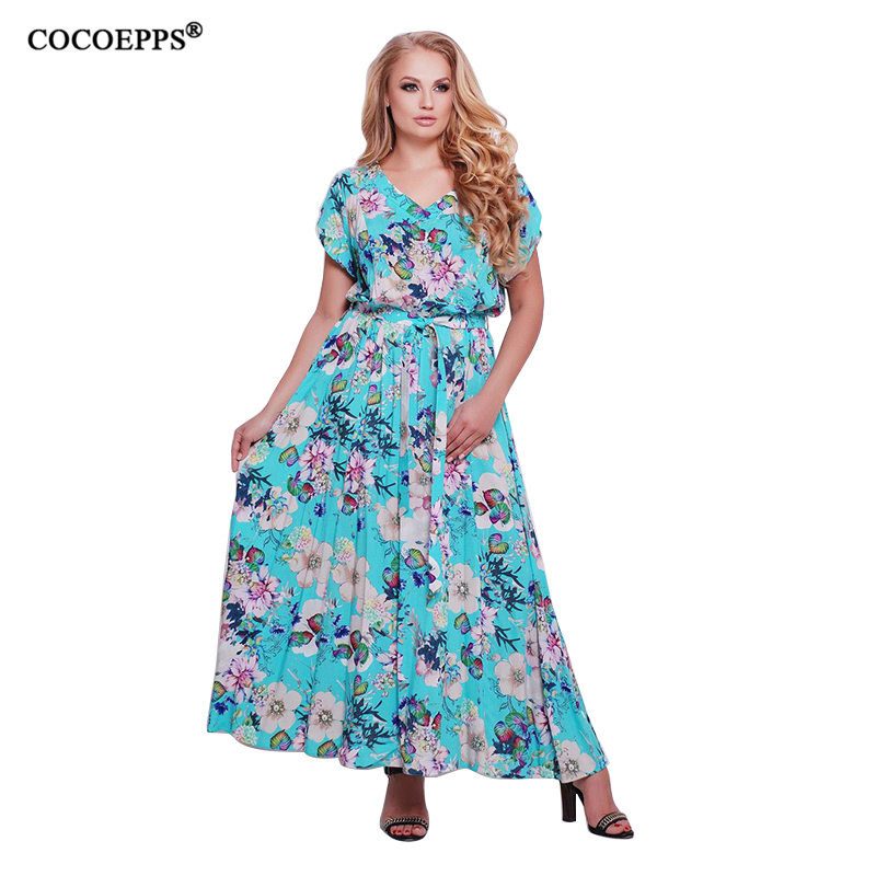 de4946d8934 5XL 6XL Maxi Women Dress big size 2018 Summer plus size Beach Party Long Dress  Casual loose Floral Print Chiffon Boho Dresses