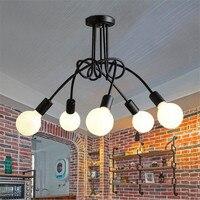 L4-Creative Czarny Biały Czerwony E27 Lampa Sufitowa Rocznika Wisiorek Światła Lampy Nowoczesne Krótkie DOPROWADZIŁ Chandelie Proste Pub Światła Foyer Pokoju