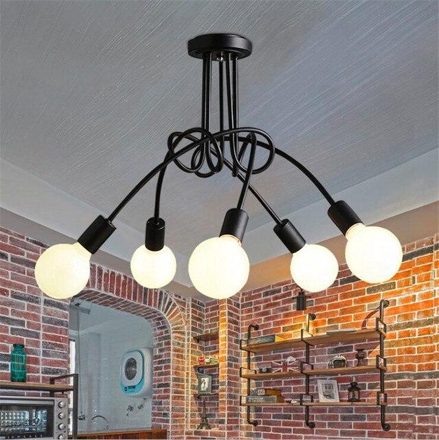 L4 Creative Noir Blanc Rouge E27 Plafond Lampe Vintage Pendentif