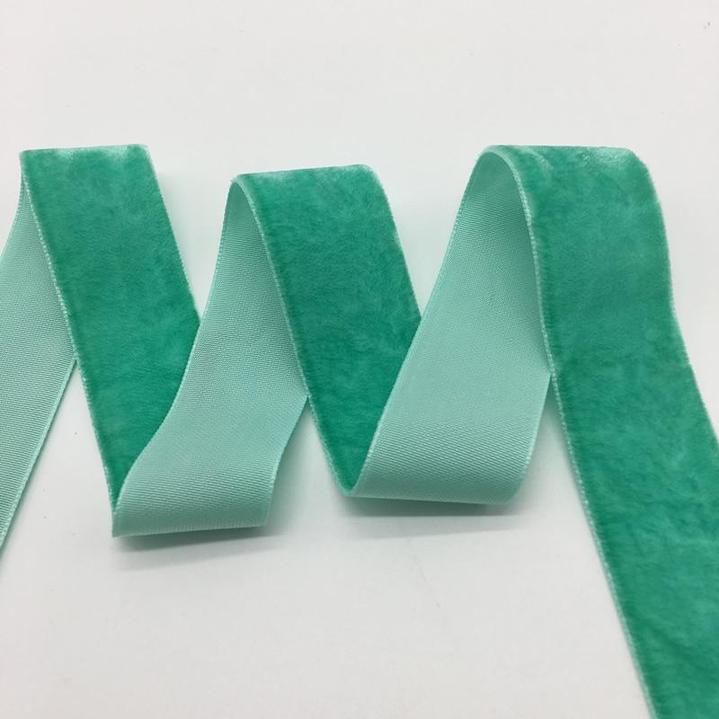 3 ярдов/партия 1 «мм (25 мм) Широкий светло зеленый бархат ленты оголовье зажимы Лук Свадебные украшения