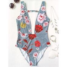 ZAFUL 2017 Sexy Plunging Neck Floral High Cut Sexy Swimsuit Vintage Summer Bathing Suit Swimwear Retro Monokinis Beachwear