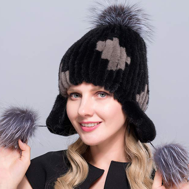 YAXUEER 2018 Winter Hats for Women Winter women's mink hats new Women hats protect ears mink and fox skins handmade warm hats