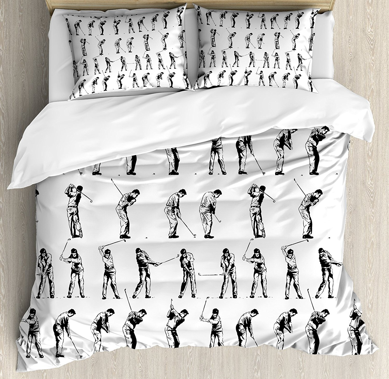 Golf Duvet Cover Set Swing Shown In Four Stages Sports Hobby Themed Sketch Art Storyboard Print 4 Piece Bedding Sets From Home