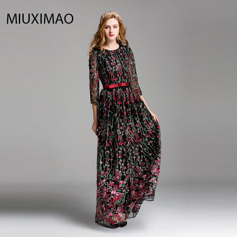 f893a579710 High Quality New 2017 Autumn Runway Maxi Dress Women s 3 4 Sleeve Elegant Floral  Flower