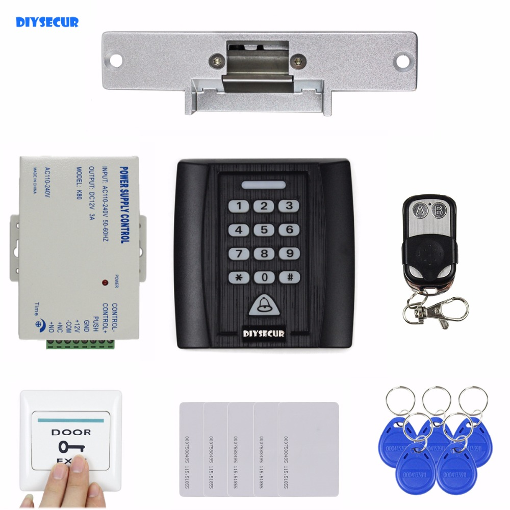 DIYSECUR Remote Control Strike Lock Door Lock 125KHz RFID Reader Password Keypad Access Control System Security Kit diysecur rfid keypad door access control security system kit electronic door lock for home office b100