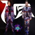 (jacket+pants)suit male nightclub singer DJ in Europe and the United States show blue red bright geometric stretch satin surface