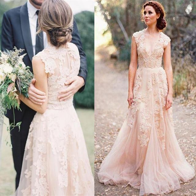Vestidos De Novia Cap Sleeves Pink Wedding Dresses Uk Lace Lique Tulle Sheer Vintage A