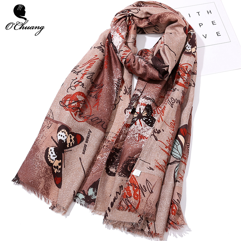 O CHUANG New Viscose Summer Scarf Women Female Butterfly Big Size <font><b>180*90cm</b></font> <font><b>bufandas</b></font> invierno mujer 2018 echarpe foulard Scarves image