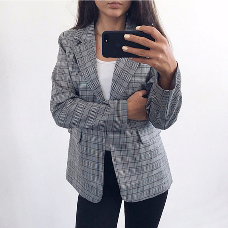 2019 New High Quality Women Gray Plaid Office Lady Blazer Jacket Fashion Notched Collar Work Suit Elegant Work Blazers Feminino