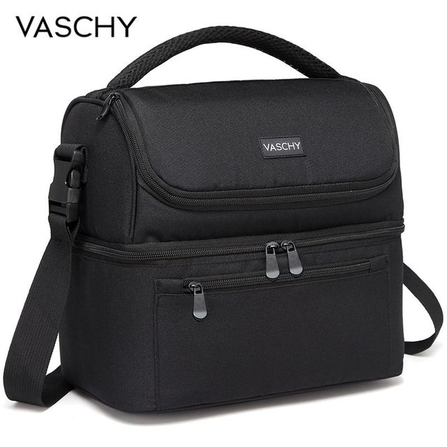 89ce88354abf VASCHY Insulated Lunch Box Leak-proof Cooler Bag in Dual Compartment Lunch  Tote for Men Women 14 Cans Wine Bag Cooler Box