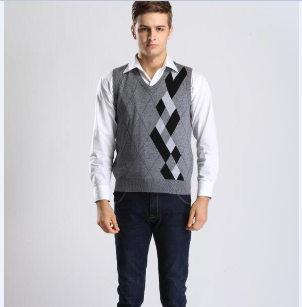 2015 Newest Autumn Fashion Argyle Pattern Men V-neck Cashmere Sweater Vest